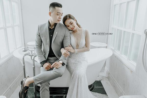 Trang phục thời thượng của chú rể và cô dâu tại Dinky Hoang